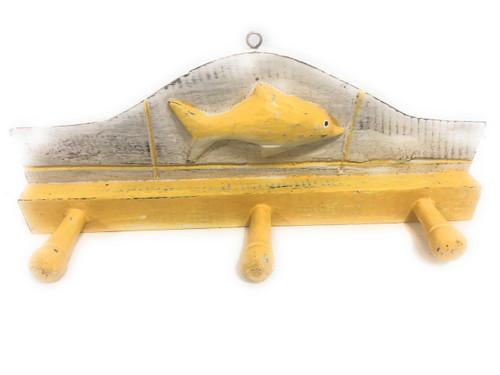 "Fish Hanger 12"" w/ 3 Pegs - Rustic Yellow Coastal Decor   #ort1700428y"