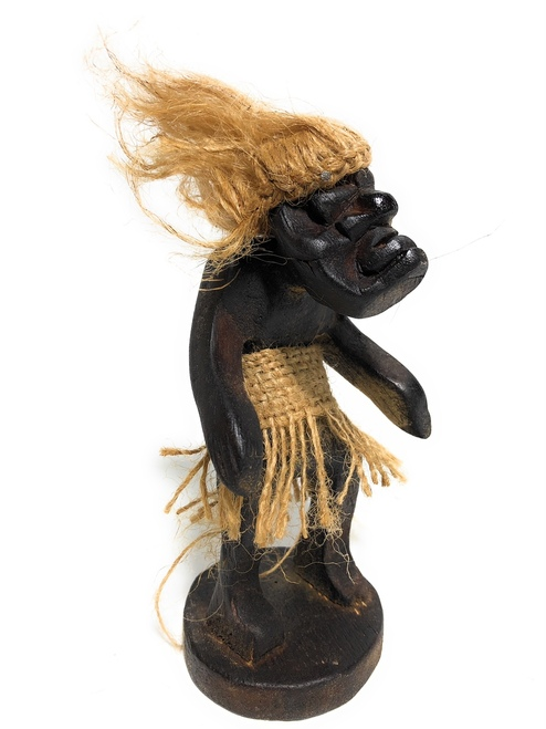 "Meditating Crazy Primitive Tiki Dude 6"" - Tribal Art 