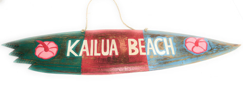 """Kailua Beach"" Shark Bite Surf Sign - 40"" - Beach Decor 