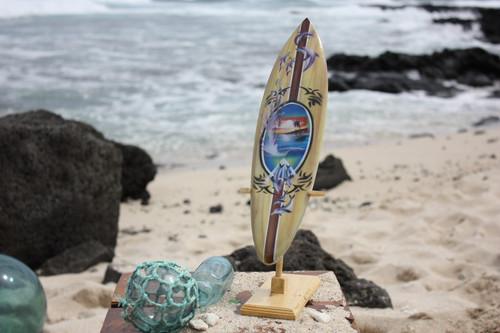 "Surfboard w/ Stand Splashing Dolphins Design 16"" - Trophy | #lea04d40"