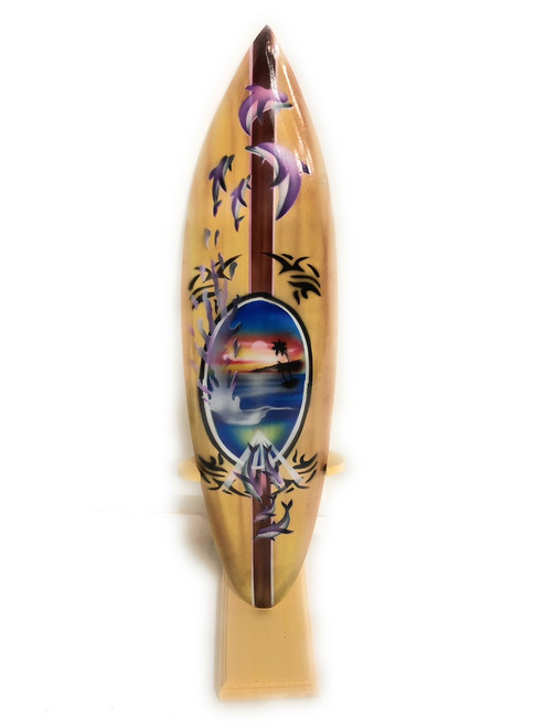 "Surfboard w/ Stand Splashing Dolphins Design 16"" - Trophy 