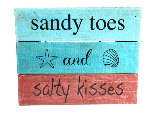 """""""Sandy Toes And Salty Kisses"""" Beach Sign on Wood Planks 12"""" X 9.5"""" 