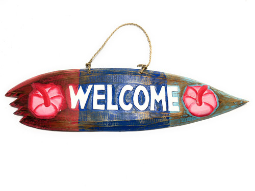 "Welcome Shark Bite Surf Sign 20"" - Beach Decor Accents 