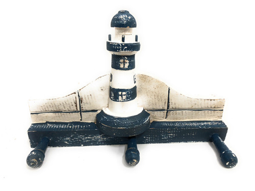"Lighthouse Hanger 12"" w/ 3 Pegs - Rustic Blue Nautical Accent 