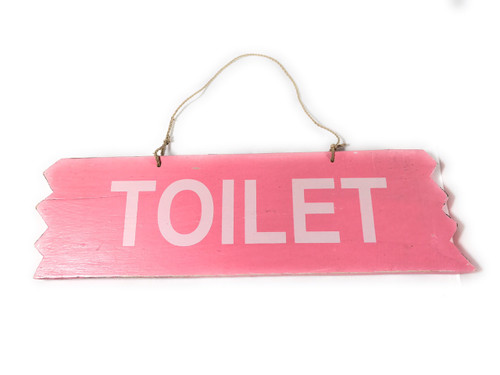 "Cute ""Toilet"" Wooden Sign 12"" X 4"" - Pink 