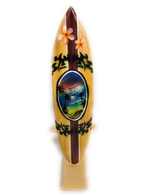 "Surfboard w/ Stand Palms & Plumeria Design 16"" - Trophy | #lea04f40"