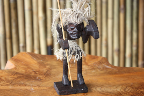 "Warrior Crazy Primitive Tiki Dude 7"" - Tribal Art | #lge24008"
