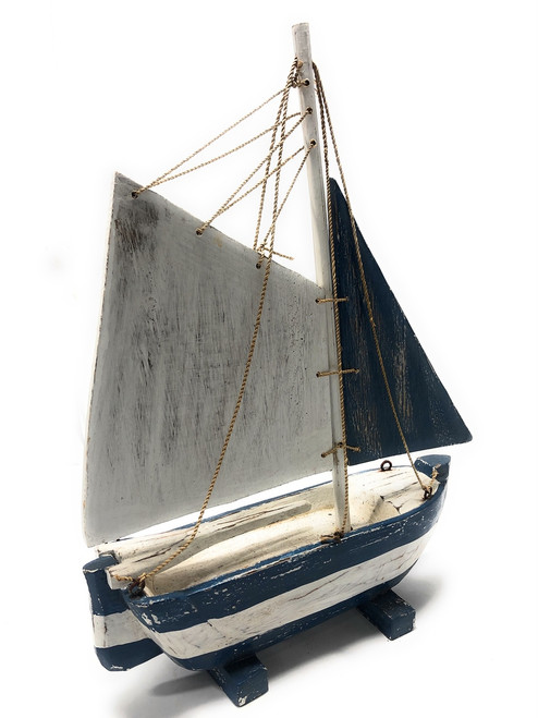 "Decorative Sailboat 16"" - Rustic Yellow Coastal Accent 