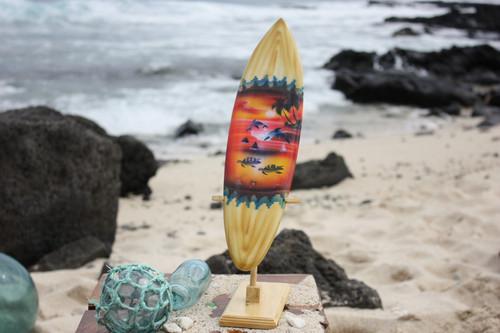 "Surfboard w/ Stand Sunset Design 16"" - Trophy   #lea04g40"