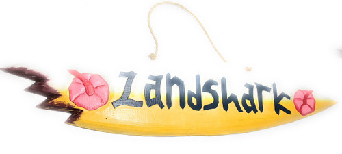 """Landshark"" Shark Bite Surf Sign - 40"" - Beach Decor 