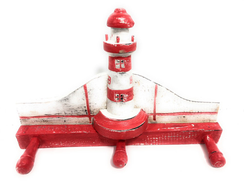 """Lighthouse Hanger 12"""" w/ 3 Pegs - Rustic Red Nautical Accent 