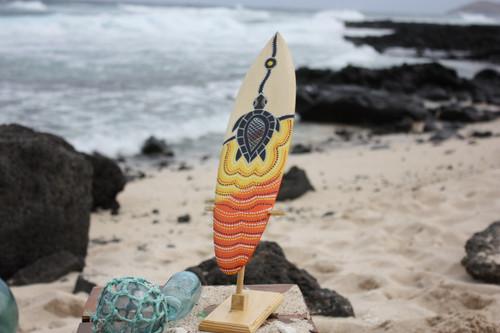 "Surfboard w/ Stand Turtle Honu Design 16"" - Trophy | #lea04i40"