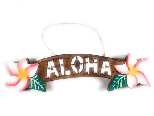 """Aloha"" Sign w/ Plumeria Flowers 9.5"" - Hawaiiana Decor   #snd25121"