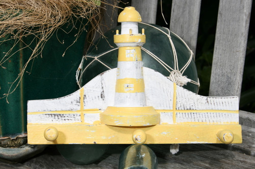 """Lighthouse Hanger 12"""" w/ 3 Pegs - Rustic Yellow Nautical Accent 
