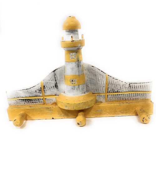 "Lighthouse Hanger 12"" w/ 3 Pegs - Rustic Yellow Nautical Accent 