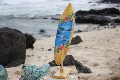 """Surfboard w/ Stand Dolphins & Hibiscus Design 16"""" - Trophy 