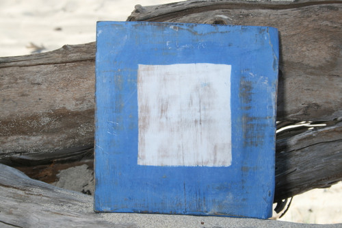 "P Nautical Alphabet Wooden Plaque 7"" X 7"" - Coastal Decor | #skn16017p"
