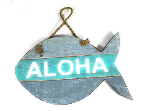 """Aloha"" Beach Sign Fish on Wood Planks Blue/Mint 13"" X 8"" | #nik3219"