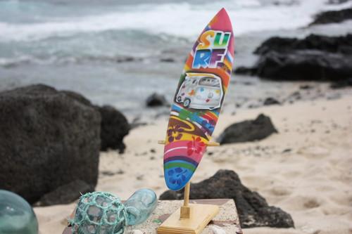 "Surfboard w/ Stand 70's VW Van Design 16"" - Trophy   #lea04m40"