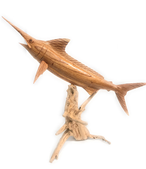 Blue Marlin Hand Carved On Drift Wood Base - Island Art | #ton03