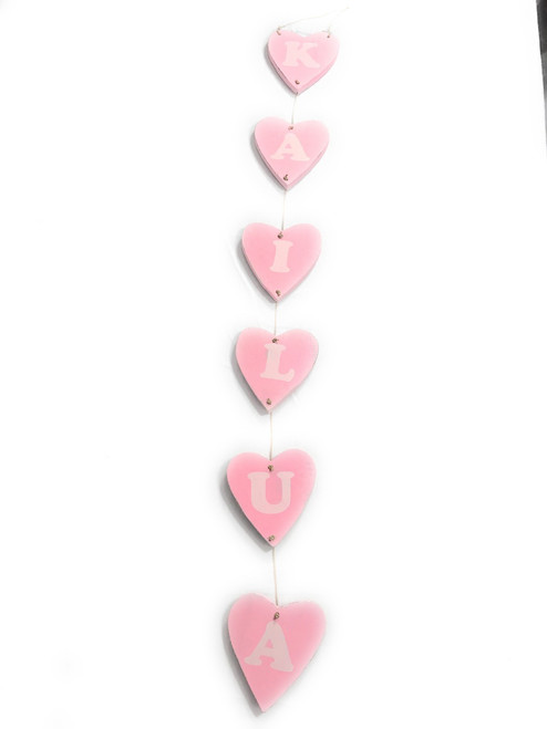 "Heart ""Kailua"" Garland Beach Sign on Wood 30"" X 4"" - Pink 