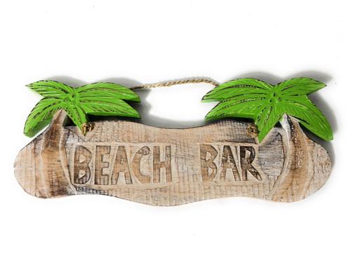 "Rustic ""Beach Bar"" Tiki Bar Sign w/ Palm Trees | #snd2503530"