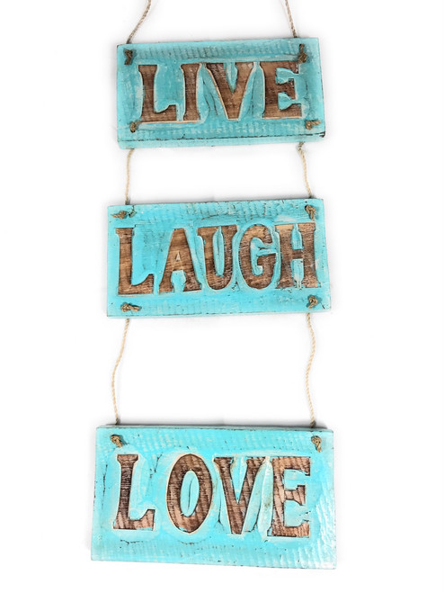 """Live, Laugh, Love"" Turquoise Hanging Beach Sign 20"" X 6"" 