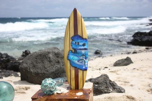 "Surfboard w/ Dolphins 20"" - Surf Decor Hawaii - Trophy   #lea05b50"