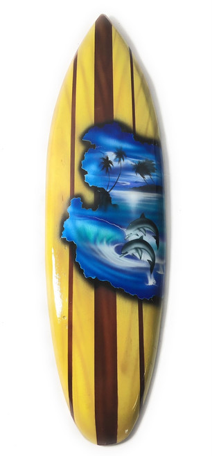 "Surfboard w/ Dolphins 20"" - Surf Decor Hawaii - Trophy 
