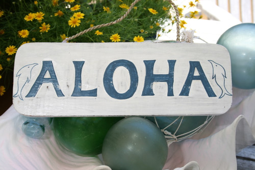 """Aloha Sign 14"""" w/ Dolphins - Rustic Cottage Sign   #ort1705535"""