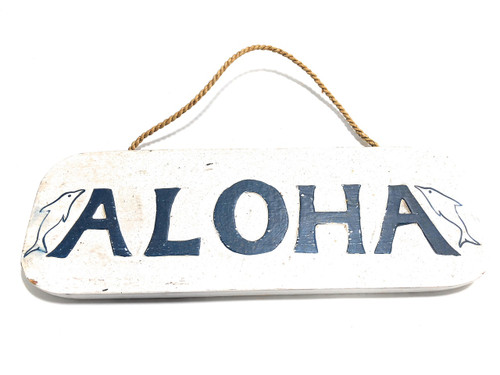 """Aloha Sign 14"""" w/ Dolphins - Rustic Cottage Sign 