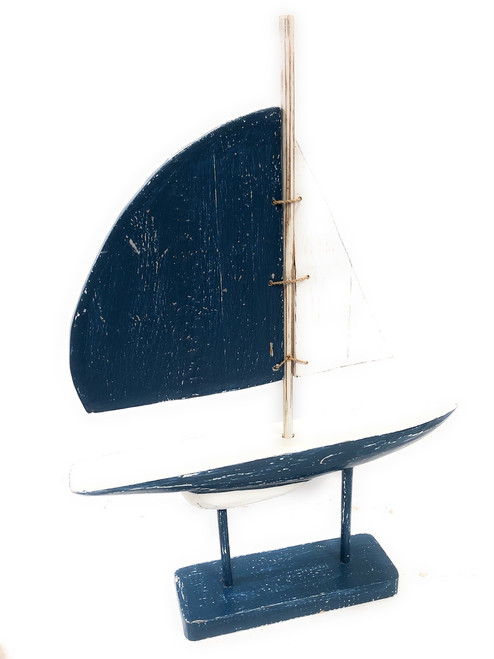 """Racing Sailboat 20"""" Wooden - Red Nautical Decor Accent 