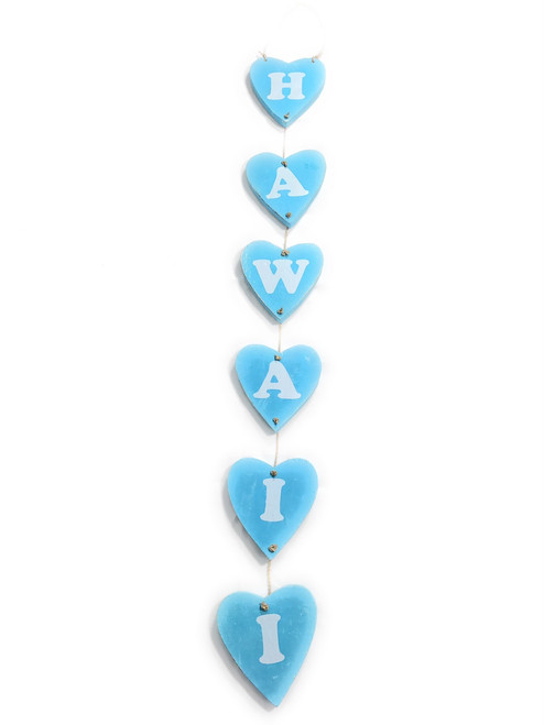 "Heart ""Hawaii"" Garland Beach Sign on Wood 30"" X 4"" - Blue 