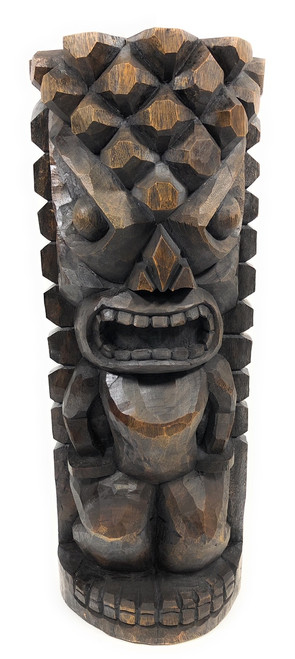 "Ocean/Fishing Tiki Sculpture 26"" Stained - Hand Carved 