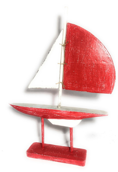 "Racing Sailboat 20"" Wooden - red Nautical Decor Accent 