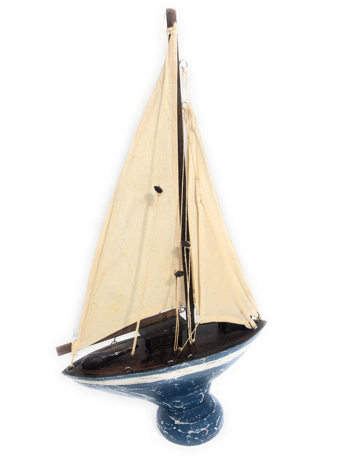 "Sailboat Replica 20"" Wooden - Free Standing - Red Nautical Decor 