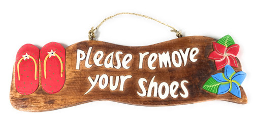 """""""Please Remove Your Shoes"""" Beach Sign w/ Slippers 17"""" - Red 