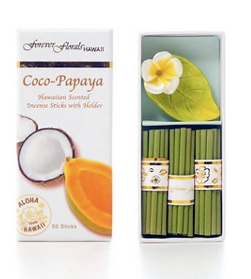 Coco Papaya Incense Sticks w/ Ceramic Holder | #tw51290