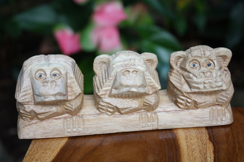 """3 Wise Monkeys"" Hear Speak See No Evil 8"" Hand Carved 