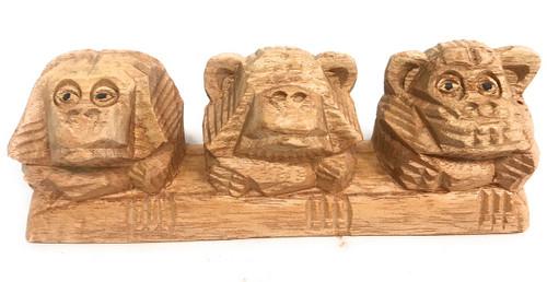 """3 Wise Monkeys"" Hear Speak See No Evil 8"" Hand Carved | #rum01"