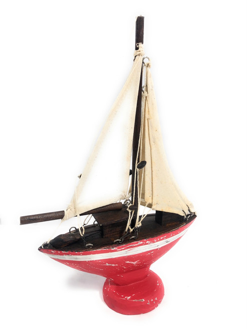 """Sailboat Replica 20"""" Wooden - Free Standing - Red Nautical Decor   #ort1700650r"""