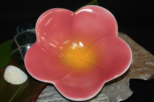 "Plumeria Pink Ceramic Bowl 8"" - Hawaii 