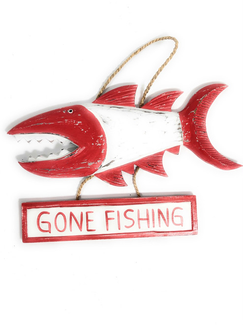 """Gone Fishing Sign 15"""" Shark Attack - Rustic Red Nautical Decor 