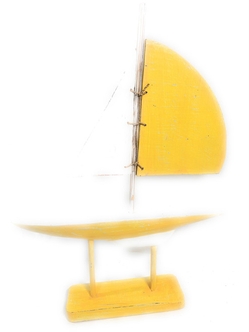 "Racing Sailboat 20"" Wooden - Yelow Nautical Decor Accent 