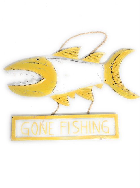 """Gone Fishing Sign 15"""" Shark Attack - Rustic Yellow Nautical Decor 