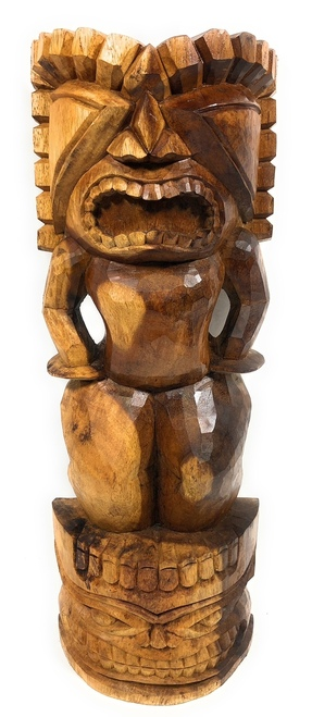 "Stacked Tiki Ku And Kanaloa 26"" - Outdoor Tiki Statue 