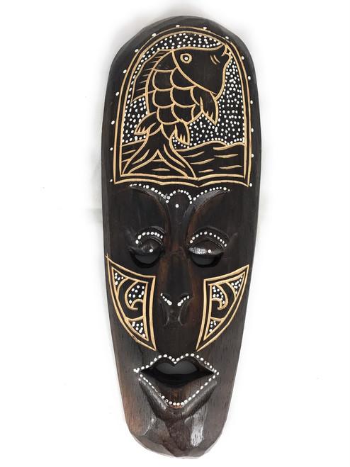 "Tribal Chief Mask 12"" w/ Fish - Tiki Primitive Art | #wib370530e"