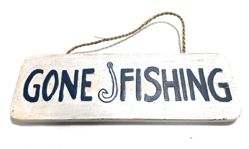 "Gone Fishing Sign 14"" - Beach Decor 