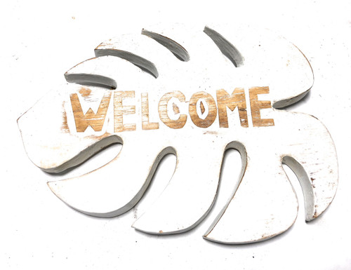 """Welcome"" White Monstera Sign - Hawaiian Decor 