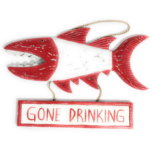 """Gone Drinking Sign 15"""" Shark Attack - Rustic Red Nautical Decor 